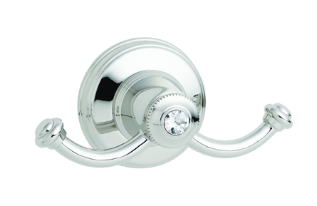 KN6020 DOUBLE ROBE HOOK CRYSTAL DECOR
